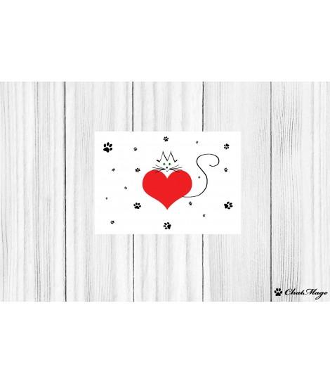"""Carte postale ChatMage """"Le coeur sur la patte"""""""