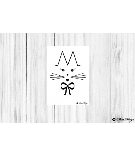 Postcard, cat postcard, ChatMage, black and white postcard, minimalist postcard, cat lady
