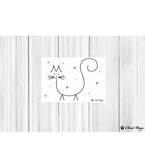 Postcard, cat postcard, ChatMage, minimalist postcard, kawaii postcard, cat paws, cute postcard