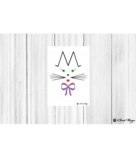 Carte postale, carte postale chat, ChatMage, carte postale en couleur, carte postale minimaliste