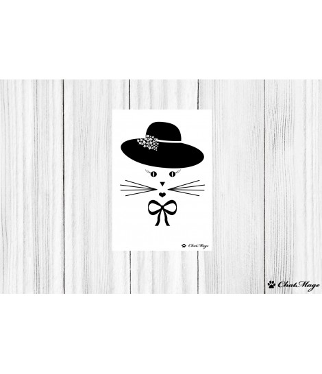 Postcard, cat postcard, cat lady postcard, ChatMage, cat lady, black and white postcard, cute postcard, minimalist postcard