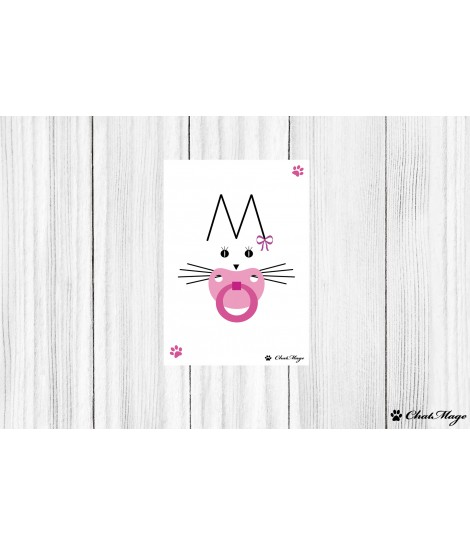 Postcard, cat postcard, ChatMage, cat lady postcard, color postcard, cute postcard, minimalist postcard