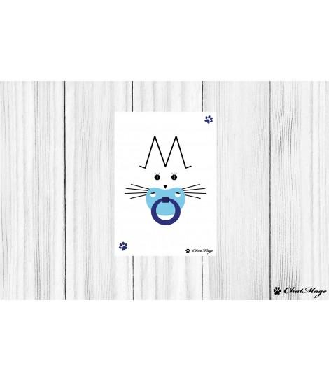 Postcard, baby girl postcard, cat postcard, kitten postcard, baby shower, ChatMage, minimalist postcard, kawaii