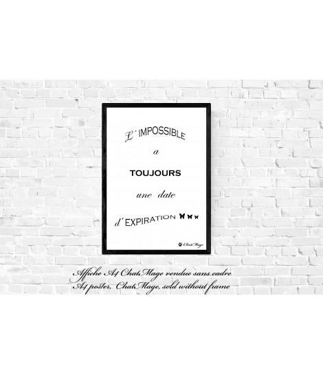 Affiche, affiche A4, affiche citation, poster, citation motivante, affiche minimaliste, affiche noir et blanc, ChatMage