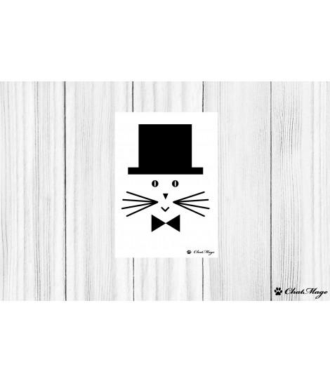 Carte postale chat, carte postale, ChatMage, carte postale noir et blanc, carte postale minimaliste
