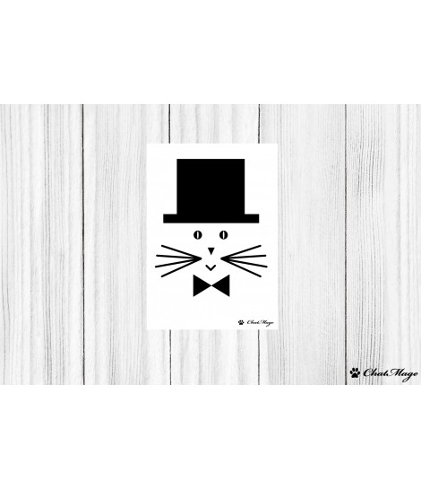 Postcard, cat postcard, cat lady postcard, ChatMage, cat lady, black and white postcard, cute postcard, minimalist postcard