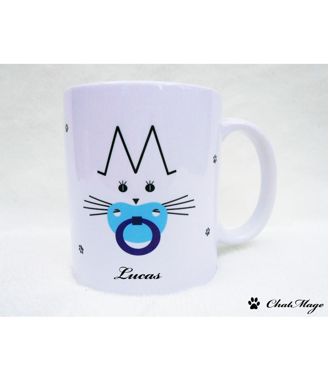 Mug Cat Mug ChatMage Customizable Mug Kitten Baby Boy - Boy announcement
