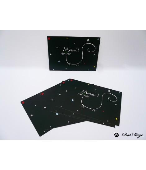 Lot (10 ou 20), lot cartes postales, carte postale chat, carte merci, carte remerciement, lot cartes de remerciement, ChatMage