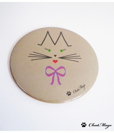 Miroir de poche ou de sac chat Mademoiselle ChatMage 75 mm - Taupe clair