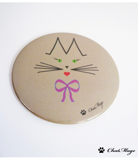Pocket mirror - cat Miss ChatMage 75 mm - Light Taupe