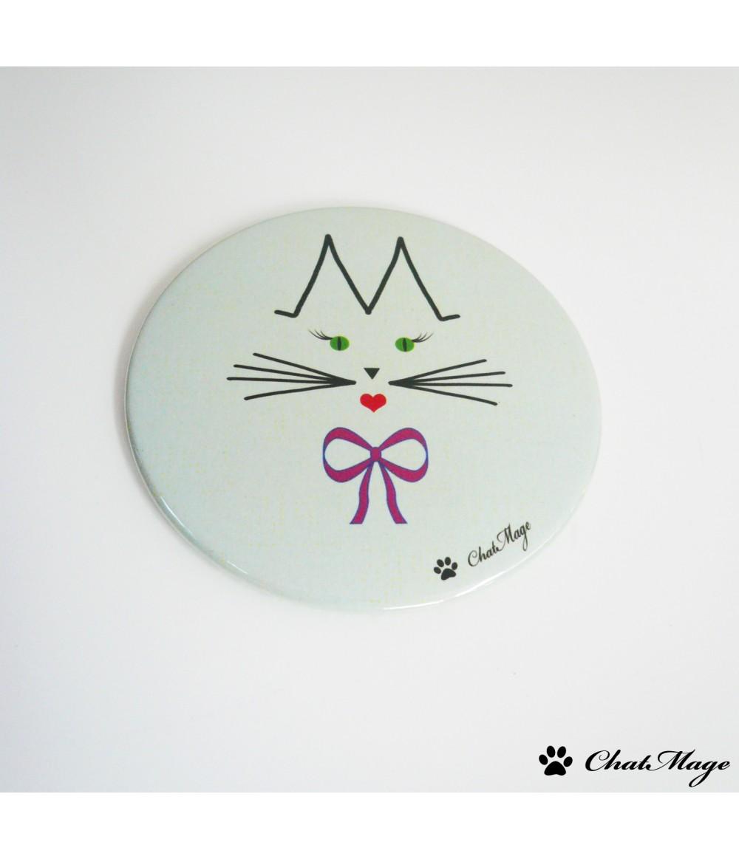 Miroir de poche miroir de sac chat chatmage 75 mm vert for Miroir des chats