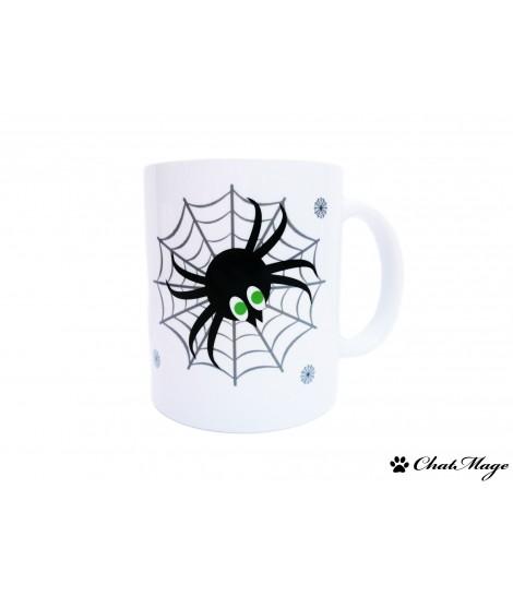 Mug, mug halloween, mug sorcière, mug araignée, Halloween, sorcière, mug chat, orange, noir, mug à message, ChatMage