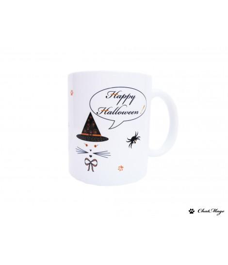 Mug, mug chat, mug halloween, Halloween, sorcière, mug sorcière, orange, noir, gentille sorcière, ChatMage