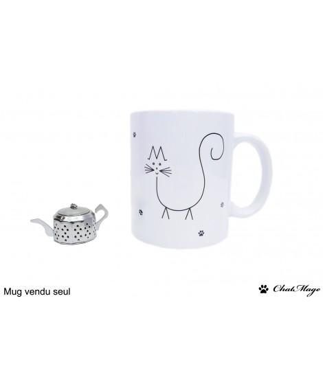 Mug, mug chat, mug à café, mug mignon, ChatMage, mug personnalisé, personnalisable, tasse, mug noir et blanc