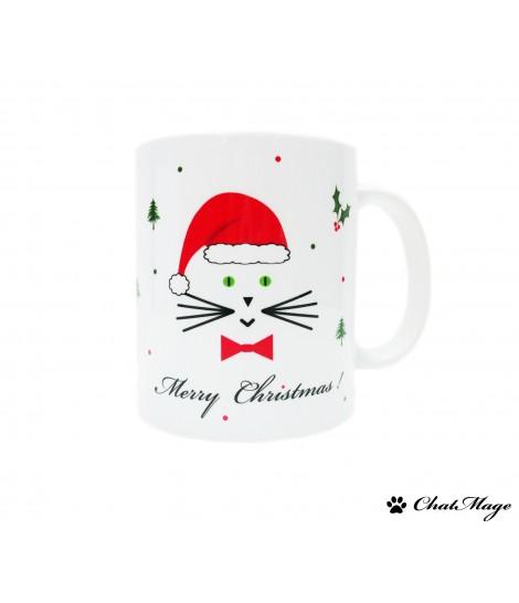 Christmas mug, Joyeux Noël mug, mug, Christmas cat mug, cat mug, mug in French, Father Christmas, Santa Claus, ChatMage