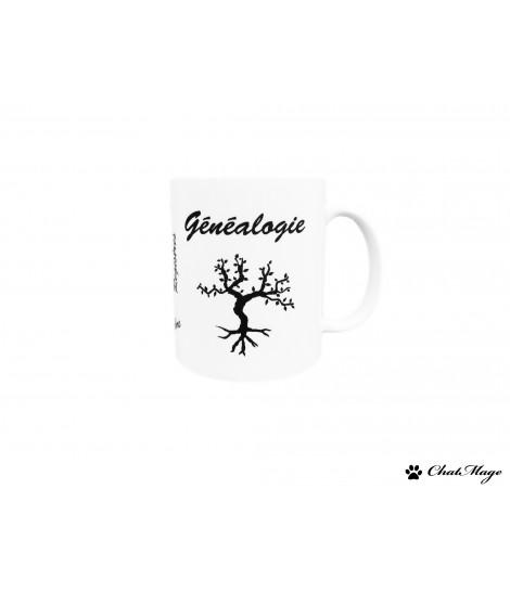 Mug, Genealogy Mug, genealogy gift, tree mug, ChatMage, mug in French, tea lovers, coffee addict, genealogy, cup