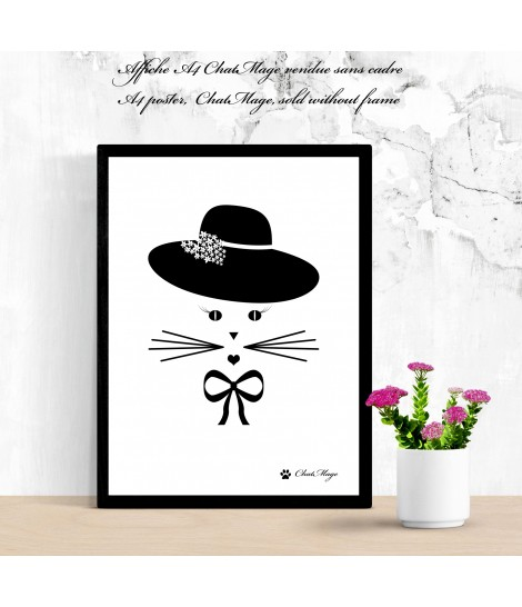 """A4, poster, cat, ChatMage, """"Lady ChatMage"""""""