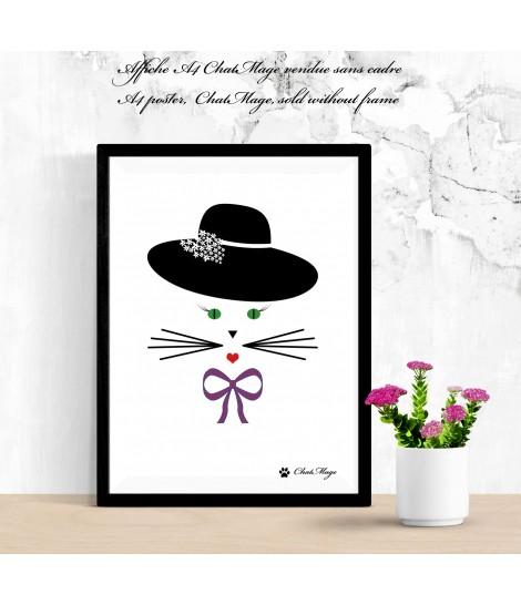 Affiche, affiche A4, affiche chat, poster chat, ChatMage, décoration maison, chat kawaii, affiche kawaii