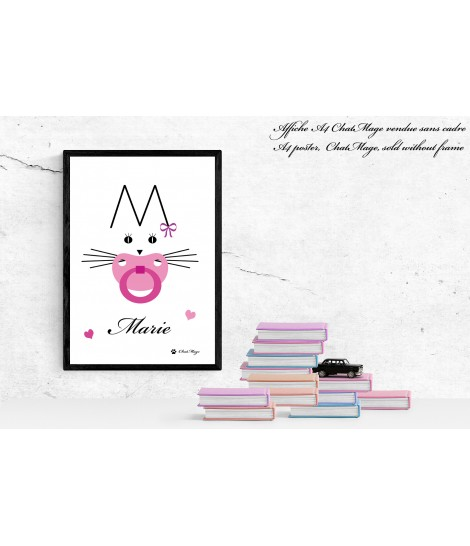Poster, A4 poster, cat poster, cat lady poster, animal poster, black and white poster, kawaii cat poster, ChatMage