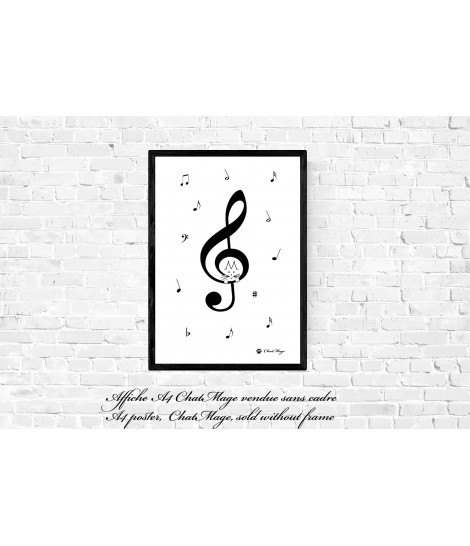 Poster, music poster, A4, musical notes poster, treble clef poster, key of G, G clef, cat poster, home decoration, ChatMage